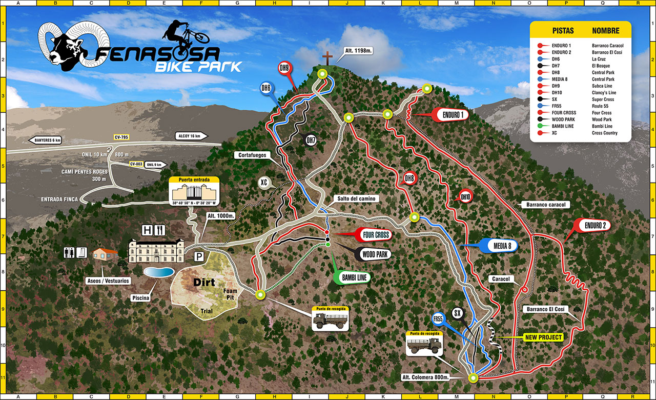 La Fenasosa Map of the rides